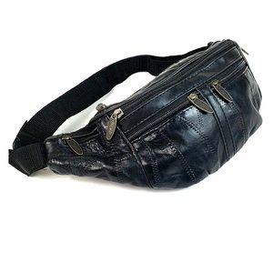 Vtg. Tinder unisex leather fanny bag hip belt EUC